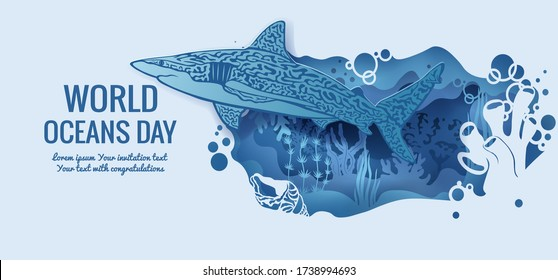 Text - world ocean day. shark. template for making a postcard. vector image for laser cutting and plotter printing. fauna with marine animals