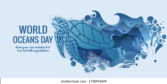 Text - world ocean day. Turtle. template for making a postcard. vector image for laser cutting and plotter printing. fauna with marine animals