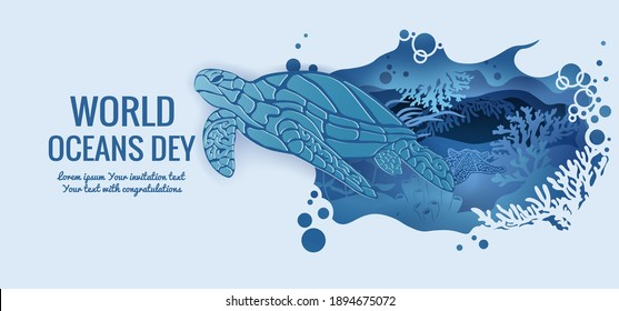 Text - world ocean day. Turtle. Fauna with marine animals. Template for making a postcard. Vector image for laser cutting, plotter printing and scrapbooking.