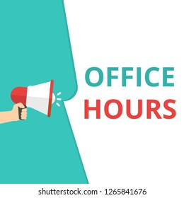 text writing Office Hours. Vector illustration
