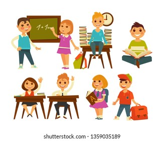 Textbooks and chalkboard school classroom children education and knowledge kids boy and girl learning maths book piles on desk schoolers raising hands briefcase schoolboy and schoolgirl in uniform.