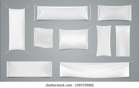 Textile ad banner. Blank white fabric advertising mockup, realistic isolated cloth ad sheet. Vector image folds rectangular promotion flag