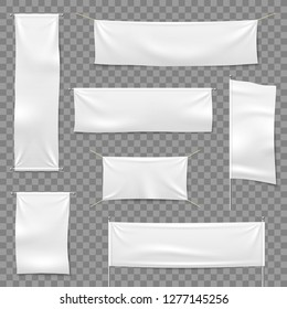 Textile advertising banners. Flags and hanging banner, blank fabric white horizontal cloth sign, textile ribbons vector mockup set