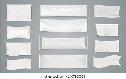 Textile advertising banners. White waving fabric signs, blank isolated promotion cloth label. Vector realistic isolated image advertising sheet