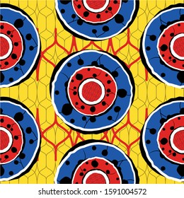Textile african print. Fashion design, ethnic hand drawn pattern