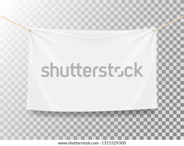 Textile Banner On Transparent Background White Stock Vector