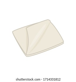 Textile beige rag. Home cleaning tool. Vector simple illustration isolated on white background.