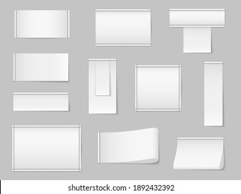 Textile blank white labels. Realistic fabric apparel stickers, clothing clean stitched tags templates with seams. 3d empty square pieces of cloth for branding, copy space for logo vector mockup set