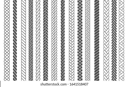 Textile braids. Braid and plait fashion patterns vector illustration for brushes, black braided threads or knitting ropes images seamless designs for fabric ornaments decoration