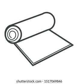 Textile, carpet or paper roll isolated icon vector, recyclable material. Roll of camping or fitness carpet, yoga floor mat symbol. Eco-friendly fabric, Environment protection and care, mattress scroll