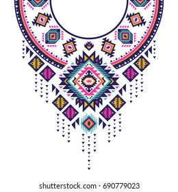 Textile design for collar shirts, shirts, blouses, T-shirt in tribal style. Ethnic vector embroidery. Aztec geometric print