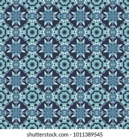 Textile design texture. Ethnic tracery for print on textile. Seamless pattern abstract background. With saturated shapes in white, blue and gray colors. Vector illustration.