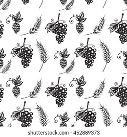 Textile design, wallpaper, hand drawn illustration of grapes, hop, barley, seamless pattern on white background