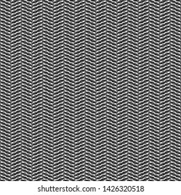 Textile fabric made of bands with oblique ridges. Chevron or herringbone pattern.  Monochrome. Vector illustration.
