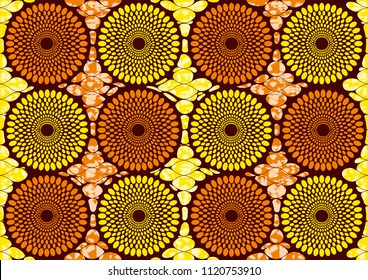 Textile fashion african print fabric super wax, Ankara prints, abstract seamless, vector illustration file.