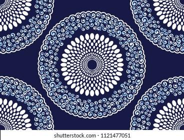 Textile fashion african print fabric super wax, Ankara prints, abstract seamless, vector illustration file.