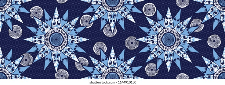 Textile fashion african print fabric, abstract seamless, vector illustration file.
