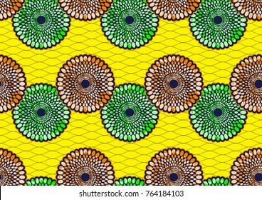 Textile fashion african print fabric super wax, abstract seamless, vector illustration file.