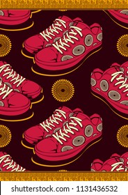 Textile fashion African shoe print fabric, abstract seamless, vector illustration file.