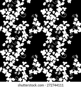 Textile Floral seamless Pattern. Silhouette of flowers vector background