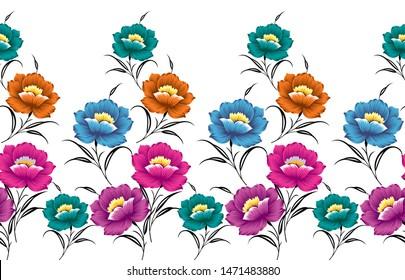 Textile flower border on white background