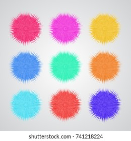 Textile fluffy pompons, wall or ceiling hanging vector decor for birthday celebrations, carnivals, kid's parties isolated on white. Cute embellishment for baby's room, toddler interior.