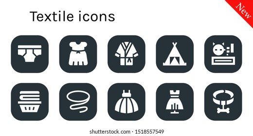 textile icon set. 10 filled textile icons.  Simple modern icons about  - Underwear, Dress, Bathrobe, Tent, Meow, Clothes, Tie, Collar