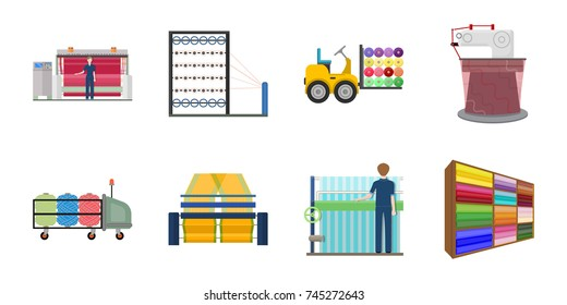 Textile industry icons in set collection for design.Textile equipment and fabrics vector symbol stock web illustration.