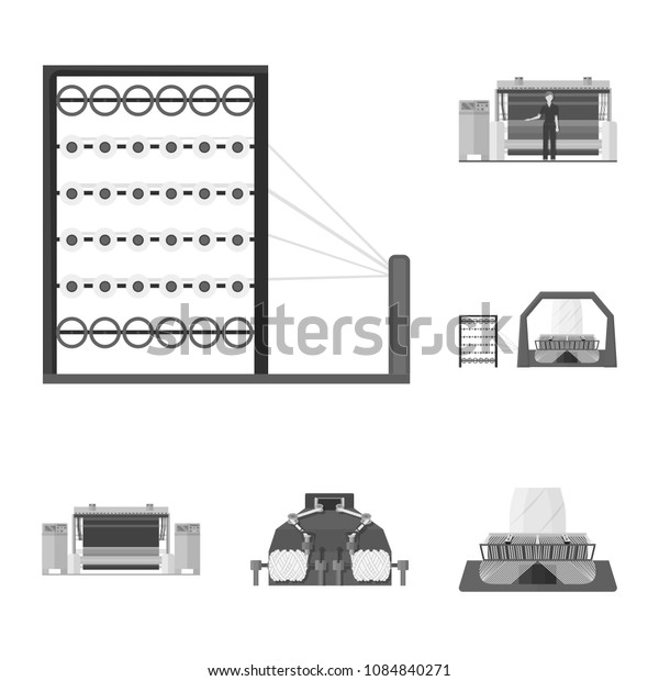 Textile industry monochrome icons in set collection for design.Textile equipment and fabrics vector symbol stock web illustration.