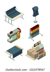 Textile isometric. Industrial sewing factory machinery production garments manufacturing vector collection