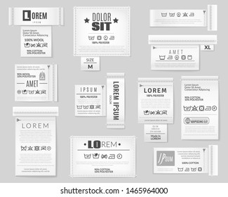Textile labels set. Realistic stripes on grey background with laundry wash clothes care instruction text logos vector collection