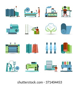 Textile manufacturing process flat icons collection with weaving yarn  machinery equipment and clothes fabrication abstract isolated vector illustration