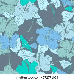 Textile print for bed linen, jacket, package design, fabric and fashion concepts. Blue hibiscus pattern. Exotic vector seamless pattern floral design. Watercolor floral seamless pattern.