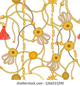 Textile print with golden chains, pendants and curtain brushes. Seamless vector pattern with jewelry elements. Women's fashon collection. On white background.