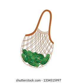 Textile string reusable shopping bag with green cucumbers for zero waste and eco friendly concept in flat style isolated on white background. Vector illustration of cloth package with products.