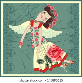 Textile Tilda doll with angel wings (rose pattern). Vector illustration.