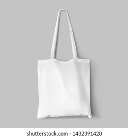 Textile tote bag for shopping mockup. Vector illustration isolated on grey background. Can be use for your design. EPS10.