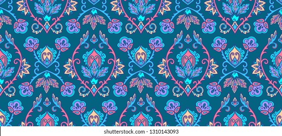 Textile and wall traditional Turkish floral colorful ornament on blue background, vector seamless pattern tile
