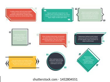 Texting boxes. Feedback typography quote box speech bubble template text note brackets citation page empty frame and geometric logo quotation memo set
