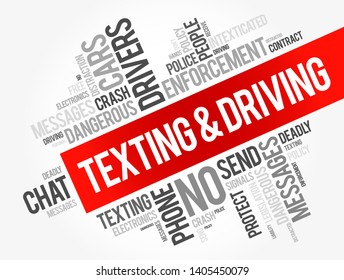 Texting and Driving word cloud collage, social concept background