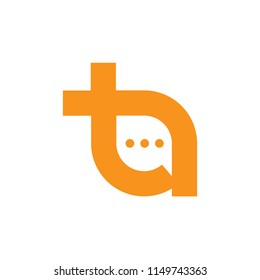 Texting initial T logo icon vector