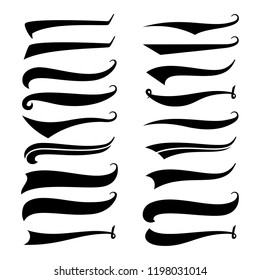 Texting tails. Swirling swash and swoosh. Football and baseball logo typography vector elements. Swirl swash stroke design, curl typographic illustration