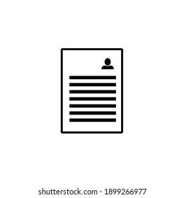 text-lines document icon - text-lines document isolated, personal information illustration - Vector biography. Stock vector illustration isolated on white background.