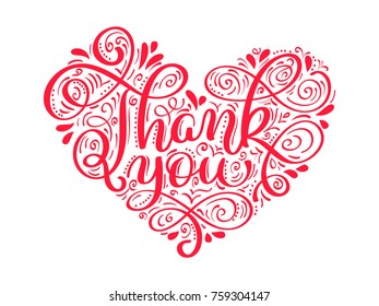 texts Thank you in the shape of a heart hand written calligraphy lettering. handmade vector illustration. Fun brush ink typography for photo overlays, t-shirt print, flyer, poster design.