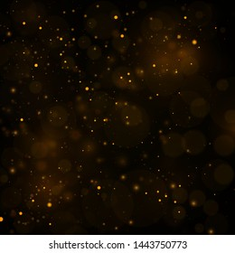 Texture background abstract black and gold Glitter and elegant for Christmas Dust white. Sparkling magical dust particles Magic concept Abstract background with bokeh effect. Vector