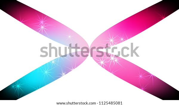 Texture of beautiful festive polygonal cut-off cosmic magical multi-colored colored distant bright motley galactic stars in the shape of a cross and copy space on a white background.