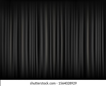 Texture of blank black curtain. Dark background with fabric pattern. Vector template