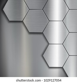 Texture of brushed metal from pattern of geometric hexagon. Industrial steel background. Stock vector illustration.