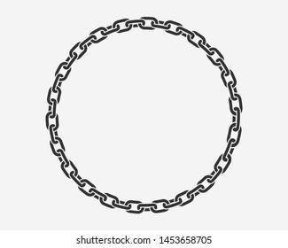 Texture chain round frame. Circle border chains silhouette black and white isolated on background. Chainlet design element