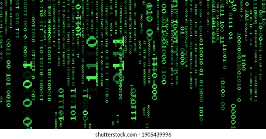 Texture composed by a sequence of zero and one number. Abstract futuristic cyberspace with binary code, matrix background with digits.